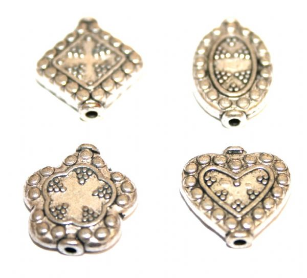 40pcs x Antique silver plated spacer bead 4 designs - S.F03 - WA158 - 1606065